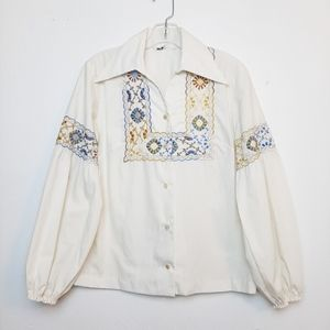 Vintage Embroidered Blouse Puff Sleeve 70s Collar